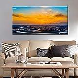 Atardeceres, carteles e impresiones de paisaje de nube de río natural, pintura en lienzo, cuadro artístico de pared para sala de estar, decoración del hogar, 50x100cm sin marco
