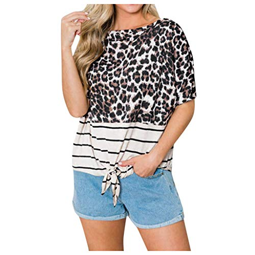 Frauen Tunika Tops Bluse Leopard Slim Pullover Tops Beiläufige Lose Streifen Farbblock Camouflage T-Shirt Krawatte Knoten Blusen Tops