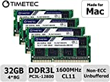 Timetec Hynix IC 32GB KIT(4x8GB) Compatible for Apple DDR3L 1600MHz PC3L-12800 SODIMM Memory Upgrade for iMac Mid 2011, Late 2012, Late 2013, Late 2014 Retina 5K, Mid 2015 Retina 5K (32GB KIT(4x8GB))