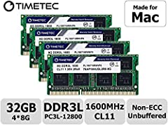 DDR3L  1600MHz  PC3L-12800  204-Pin  Unbuffered  Non ECC  1.35V  CL11  Dual Rank  2Rx8 based  512x8 Module Size: 8GB  Package: 4x8GB Designed for Apple iMac – 21.5 inch / 27 inch Mid 2011, 27 inch Late 2012, 27 inch Late 2013, 27 inch Late 2014, 27 i...