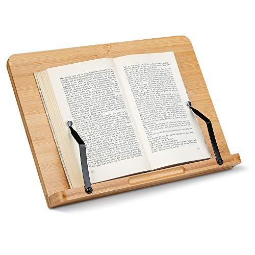 Navaris Buchständer kompatibel mit iPad Ständer - 33x24cm Buchhalter Buchstütze aus Bambus - Stand Halter für Buch - für Küche Schreibtisch