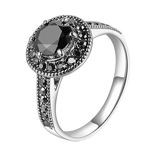 mytysun Damen Herren Vintage Retro Silberring für Frauen Schwarz Rundschnitt Markasit Ring Stein Aussage Ring Modeschmuck Geschenk