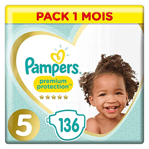 Pampers Premium Protection, talla 5, 136 pañales, 11-16 kg, pack de 1 meses, 2 unidades