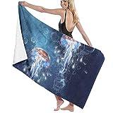 XCNGG Toalla de baño altamente absorbente Albornoz Resistente a la decoloración Cómodas y suaves Sábanas de ducha Toalla de viaje premium para el hogar para viajes Piscina Spa Hotel 80x130cm Medusas o