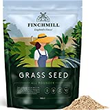 FinchMill Premium Fast Growing Grass Seed (1kg) | Resilient & Durable Grass Seeds Designed for UK Climate - Perfect for New Lawns, Overseeding & Lawn Repair (Covers 50m2)