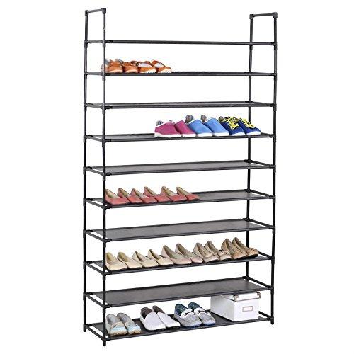 Schuhregal Stoffregal Kellerregal Ilona, 10 Böden im einfachen Stecksystem, genügend Platz für ca. 50 Paar Schuhe, in der Farbe schwarz
