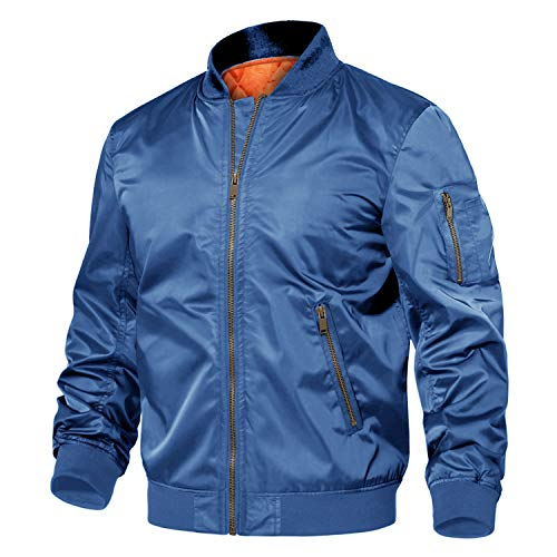 TACVASEN Bomber Jacket Mens Casual Bomber Jacket Lightweight Outdoor Sportwear Zip Winter Windbreaker Waterproof Army Military Jacket Combat Tactical Jacket Blue