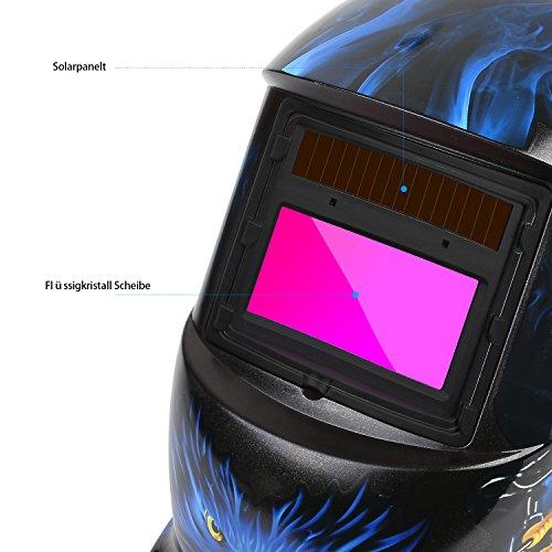FIXKIT Careta de Soldar Automatica con Gran Campo Visual, Mascara de Soldar Automatica para MIG/mag/TIG/Esmerilado/Soldadura por Arco/Corte por Plasma, Certificación CE/RoHS