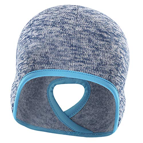 Générique Baoblaze Bonnet de Tête Tressé Polyester et Polaire pour Femmes Queue de Cheval Bonnet D'hiver - Bleu, comme décrit