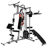 Festnight Fitness Kraftturm Multifunktionaler Heimtrainer mit Boxsack Trainingsstation Fitnessgerät Kraftstation 210 x 175 x 227 cm