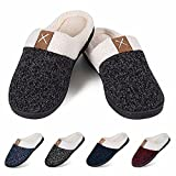 Women's Slippers Men's Warm Slippers Home Shoes Comfortable Memory Foam Anti-Slip House Cotton Shoes Indoor & Outdoor(Pure Black,42/43)