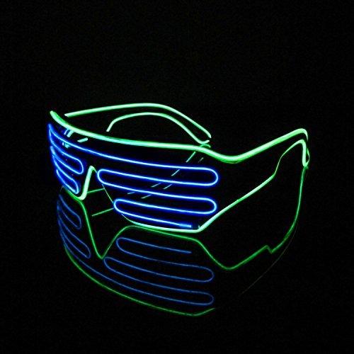 LERWAY Brillen Zwei Farben EL Neon Draht Brille LED Partybrille Soundsteuerung Sonnenbrille Halloween Weihnachtsdekoration Neujahr Geburtstag Club Bar Disco Kostüm (Blau+Hellgrün)