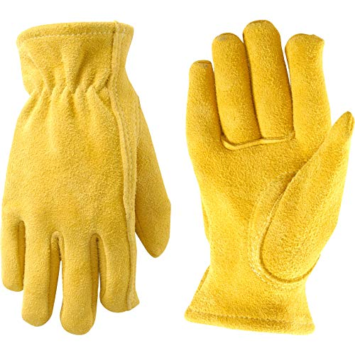 Kids Soft Leather Gardening Work Gloves, Fits Youth Ages 5-8 (Wells Lamont 1087Y)