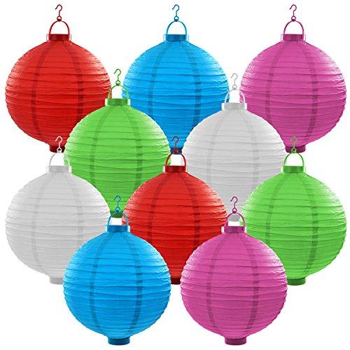 XL 10er Set LED Papierlaterne Papier Lampion Lampions Laterne Batterie Garten 30cm Papierlampion - Kabellos - Batteriebetrieben / Rosa - Blau - Rot - Grün - Weiß