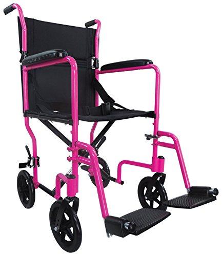 Aidapt VA172PINK Kompakter Transport-Rollstuhl aus Aluminium