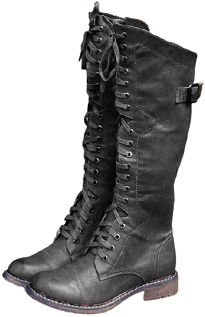 1920s Style Shoes, Heels, Boots SO SIMPOK Womens Round Toe Lace Up Knee High Riding Boots Low Heel Criss Cross Combat Boots  AT vintagedancer.com