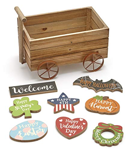 The Lakeside Collection Interchangeable Season Icons and Wagon Tabletop Decoration - 9 Pieces