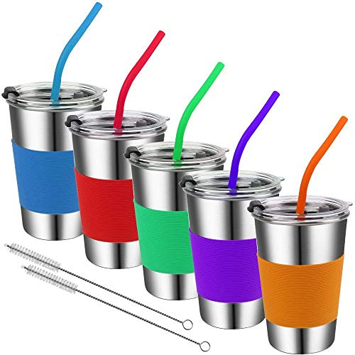 Stainless Steel Kids Cups with Lids and Straws,16oz Spill Proof Kids Straw Tumblers with Lids,6 Pack UnbreakableToddler Cups with Straws,No Spill Toddler Sippy Cups with Straws for School,Outdoor