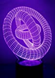 3D Ring Night Light LED Illusion Lamp Bedside Desk Table Lamp, Loveboat 7 Color Changing Lights with Acrylic Flat & ABS Base & USB Charger as Home Decor and A Best Gift (Rings-in-Rings)