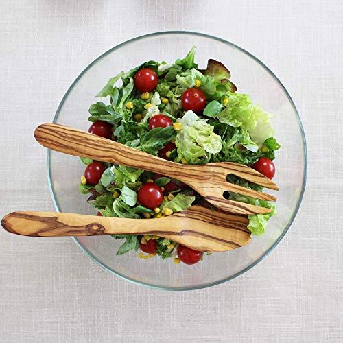 Salatbesteck aus Holz eckig   Handgemachtes Salatbesteck gerader Kante   Küchenhelfer   Küchenutensilien   Kochlöffel   Grillbesteck