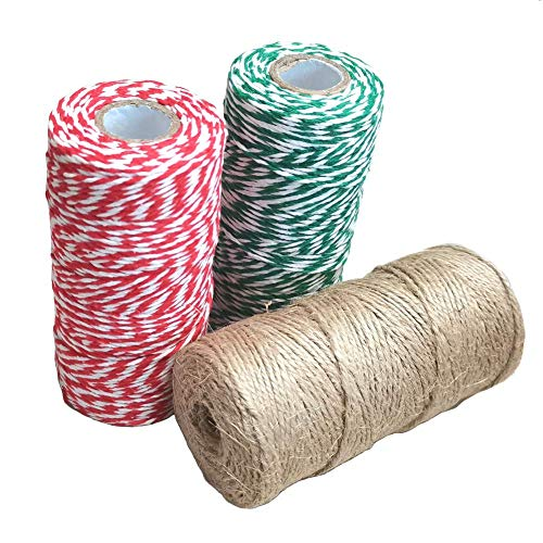 Christmas Twine String for Gift Wrapping Red White Green Cotton Bakers Twine Teal Natural Jute Twine 2mm Art Craft Cords Holiday Party Decoration String