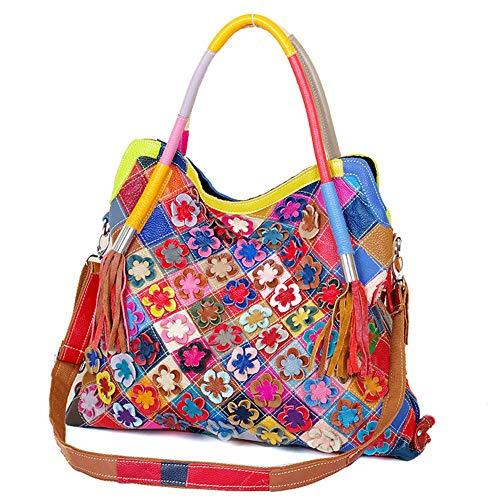 Downupdown Umhängetasche Damenmode Gestreifte Blume Multicolor Handtaschen Crossbody Geldbörse Patchwork Echtes Leder Troddeln Große Tasche