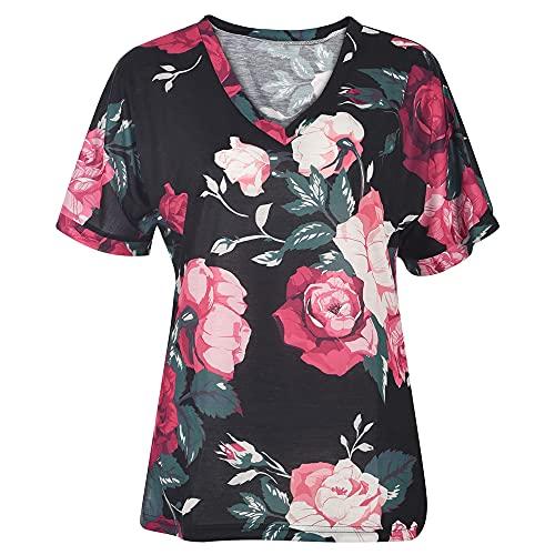 Qienjn Women T-Shirt Long Loose Comfortable Fashion Tie Dyeing V-Neck Short Sleeve Ladies Blouse Vacation Casual Stretch Fabric Summer Women Top B-Black2 XXL