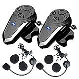 2X BT-S3 Motorcycle Intercom Communication System, QSPORTPEAK Motorbike Bluetooth Headset with Microphone, Helmet Wireless Headphones for Riding/Skiing - 2 Pack