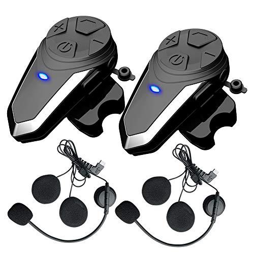 QSPORTPEAK Intercomunicador Casco Moto, Auriculares Bluetooth para Motocicleta BT-S3 1000m Bluetooth Auriculares Manos Libres para Casco Moto