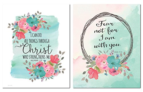 Religious Inspirational Watercolor-Style Florals 'Fear Not I Am With You' and 'I Can Do All Things Through Christ Who Strengthens Me' Set; Two 11x14in Paper Poster