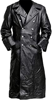 MLTC113 - German Classic WW2 Military Officer Uniform Black Leather Trench Coat