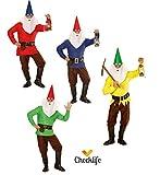 Checklife Kostüm Zwerg rot gelb blau grün Zwergenkostüm GNOME Faschingskostüm 901623 (Small,...