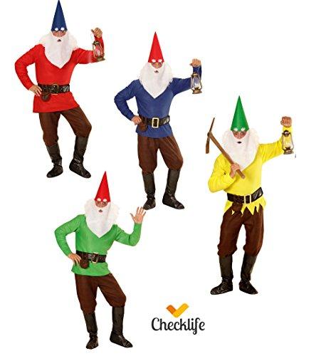 Checklife Kostüm Zwerg rot gelb blau grün Zwergenkostüm GNOME Faschingskostüm 901623 (Small, blau)