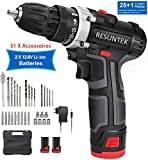 Perceuse Visseuse sans Fil 12.8V Resuntek 28Nm Auto Perceuse a Percussion 2 Batteries...