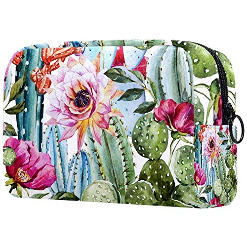 Watercolor Flowers Roses And Cactus Cosmetic Bag Travel Makeup Bag for Women Girls Zippered Pencil Case Pen Pouch Storage Holder Box Stationery for Office School