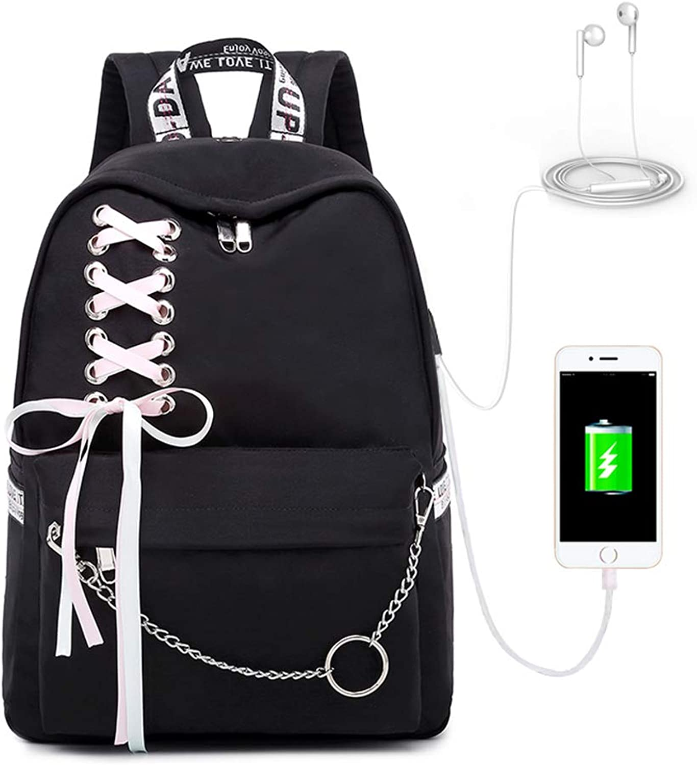 Junior high School Student Bag Shoulder Bag Female Campus Large Capacity Luminous Backpack Primary School Bag Female with Headphone Interface,Black