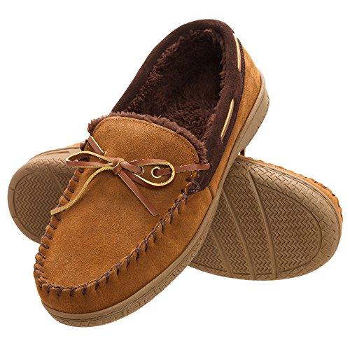 Heat Edge Mens Memory Foam Suede Slip on Indoor Outdoor Moccasin Slipper Shoe (11, Tan)