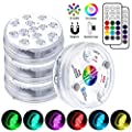 LOFTEK Hot Tub Lights, Pool Lights Underwater, Bath Spa Lights, Waterproof Pond Lights, Bright 13 LEDs Submersible LED Lights for Garden Swimming Pool Fish Tank Decorations Home Decor, RF Remote, 4Pcs by LOFTEK