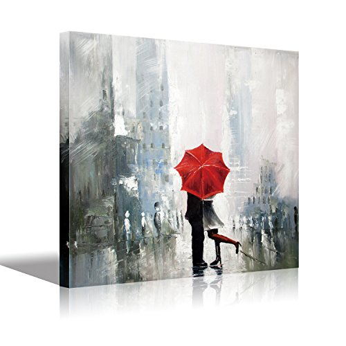 Vertical Stretched Canvas Art Lovers kiss in The rain red Umbrella Romantic Oil Painting On Canvas,Home and Office Decoration 12x16 inch(30x40cm) 1pc HD Prints on Canvas