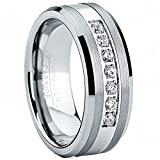 Metal Masters Co. Tungsten Carbide Men's Engagement Wedding Band Ring with Stainless Steel Center,Cubic Zirconia 8mm, Size 10.5
