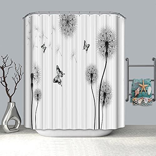 BWBJJ Tende da Doccia 3D Digitale Dente di leone 180x200 cm Stampato Poliestere Resistente Tessuto Lavabile Impermeabile Tenda della Vasca da Bagno con 12 Ganci
