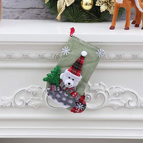 CYGJLYZ Decoración de Navidad Calcetines de Navidad Adornos Colgante Pequeño Botas Niños Año Nuevo Caramelo Bolsa Decoraciones del árbol (Color : Style7)