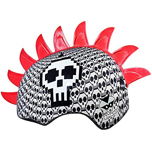 UPD Bell Raskullz Red Mohawk Printed Pixel Bone Block Skulls Kids Bike Helmet Ages 5-8