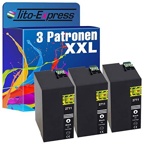 Tito-Express PlatinumSerie 3 Patronen XXL als Ersatz für Epson T2711 27XL WF3620 7610 7715 7615 7710 DWF WF7620 7720 3640 DTWF WF7210 7110 DTW WF7600 3600 7700 WF3620 WF