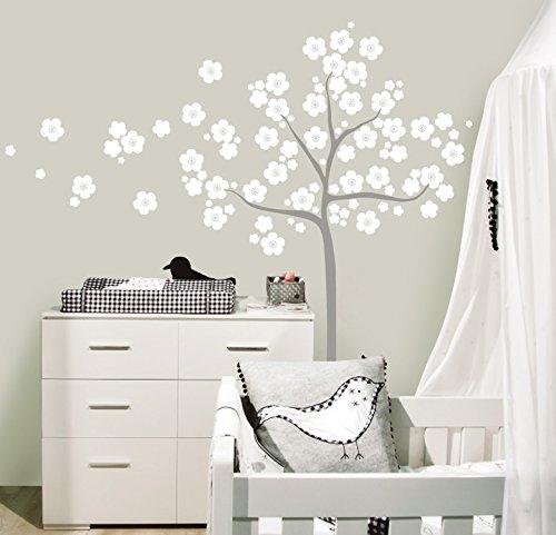 MYVINILO - Vinilo Decorativo Infantil - Sakura/Blanco/Plata (150 x 165 cm)
