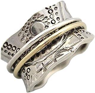 Energy Stone – « CULTE DU SOLEIL », bague tournante de méditation en argent sterling avec des rotateurs en laiton et en ar...