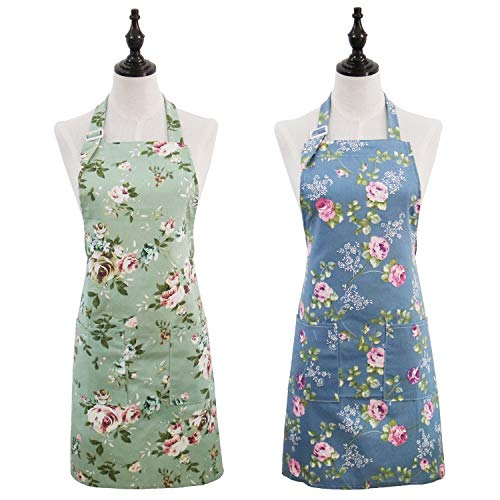 Saukore 2 Pack Floral Aprons for Women, Adjustable Kitchen Chef Aprons with Rose Pattern for Cooking Baking Gardening - Cute Birthday Gifts for Mom Wife Girlfriend Aunt Grandma