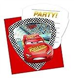 Procos 87802 6 Einladungen und Umschläge für Kindergeburtstag oder Motto-Party, CARS 3, Einladungskarten, Lightning McQueen Disney Pixar Rennautos