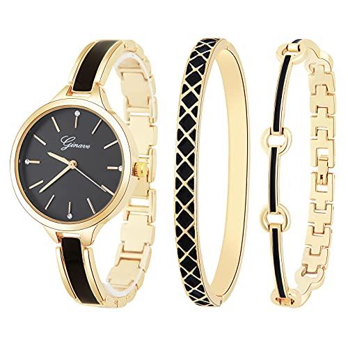 Souarts Geschenke für Frauen, Damenuhr Rosegold Armreif Geschenkset, Schmuck Damen Uhren Set, Analog Quarz Armbanduhr Geschenk Set für Geburtstag Weihnachten Muttertag(Gold Schwarz)