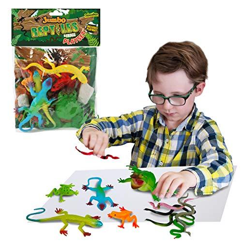 Juguete Enorme Playset de la Serpiente y del Lagarto de la Rana por Deluxebase. El Bolso Grande de Reptiles, Incluye Las Figuras Animales de la Selva del Juguete de la Rana, del Juguete del Lagarto y